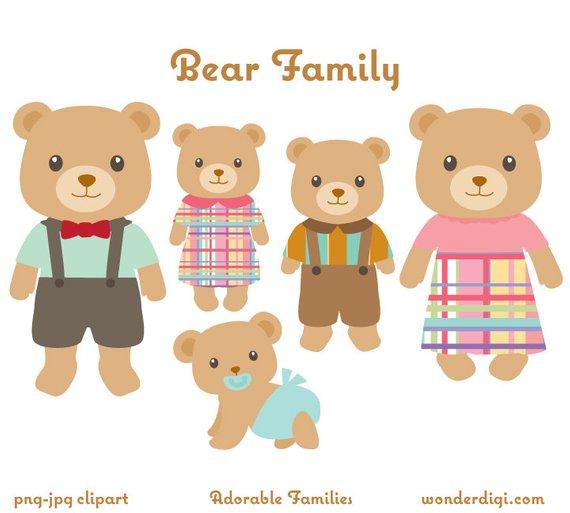 Bears clipart adorable. Bear family clip art
