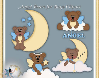Bears clipart angel. Boy etsy teddy baby