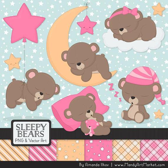 Professional pink sleepy bedtime. Bears clipart baer