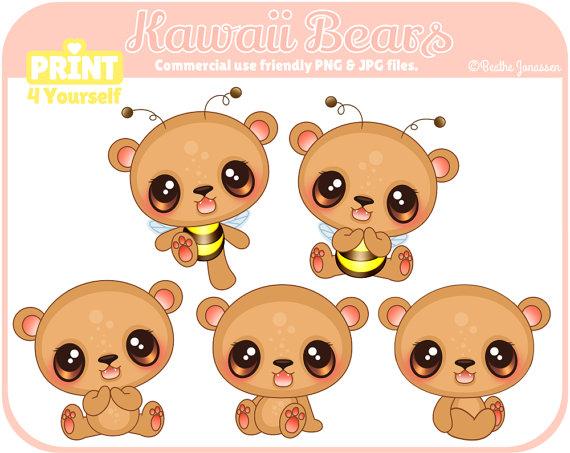 Bears clipart baer. Instant download kawaii teddybear