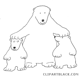 Polar bear page of. Bears clipart black and white