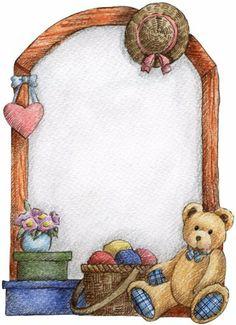 Teddy bear and heart. Bears clipart border