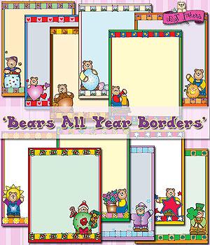 Bears clipart border. Cute clip art borders