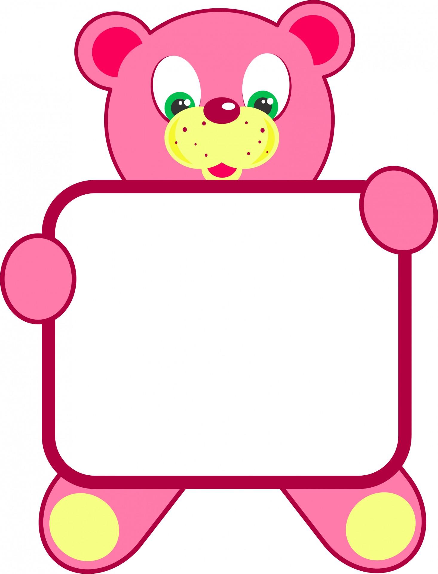 Teddy bear sign free. Bears clipart border
