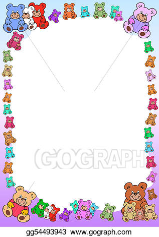 Vector illustration out of. Bears clipart border