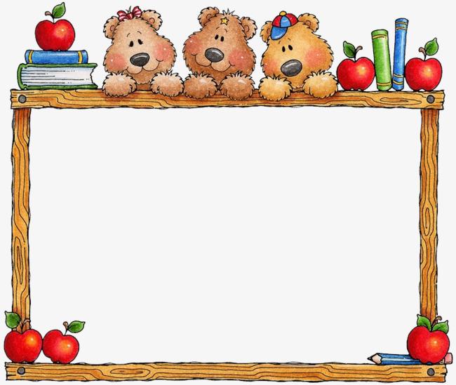 Bears clipart border. Apple cartoon bear wooden