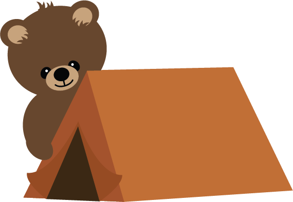 Bears clipart camping. Bear with tent svg