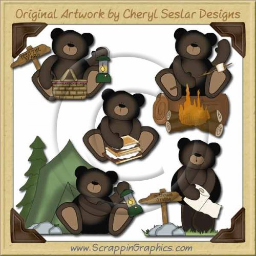 Outdoor collection graphics clip. Bears clipart camping