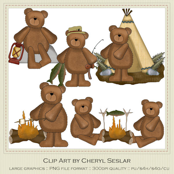 Cheryl seslar outdoors clip. Bears clipart camping