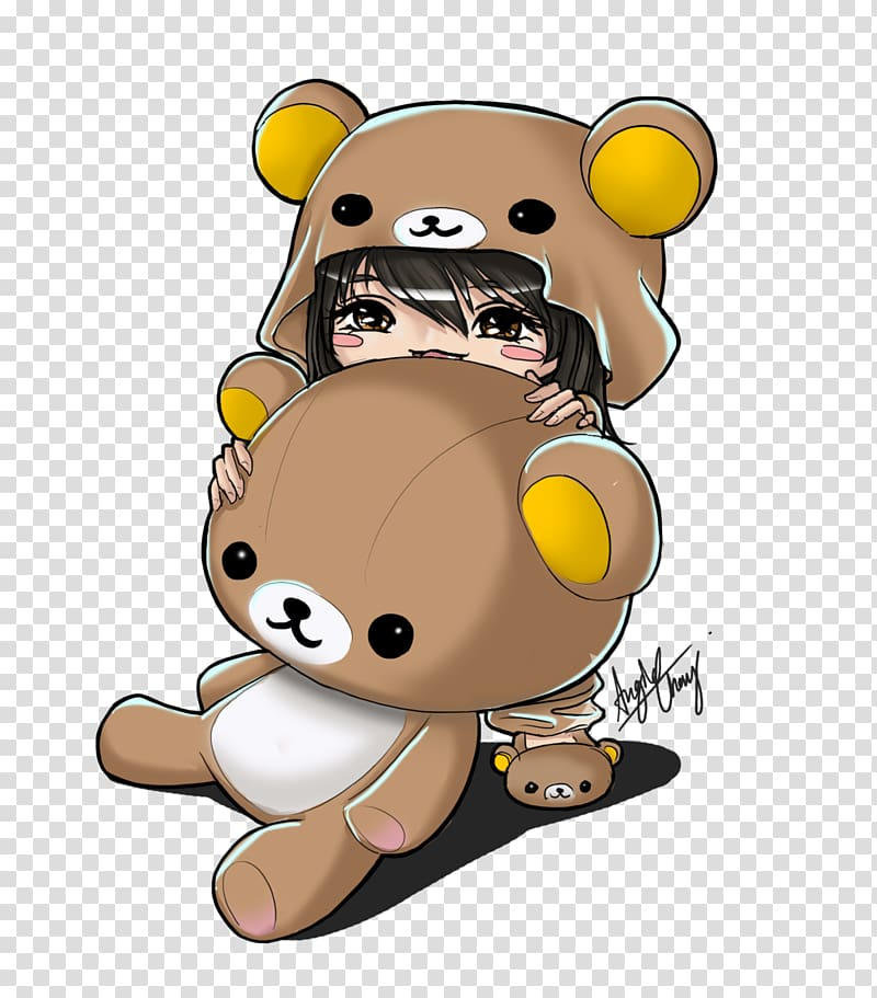 Girl wearing bear costume. Bears clipart chibi