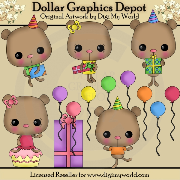 Bears clipart chibi. Birthday party clip art