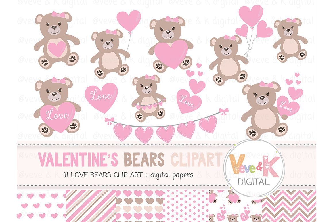 Teddy bear set love. Bears clipart clip art
