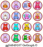 Vector art splotches with. Bears clipart colored