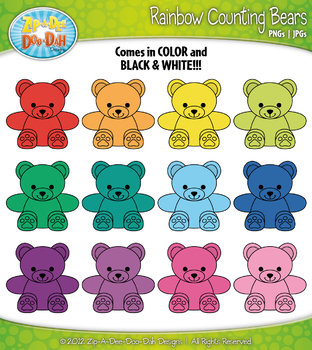 Rainbow counting zip a. Bears clipart colored