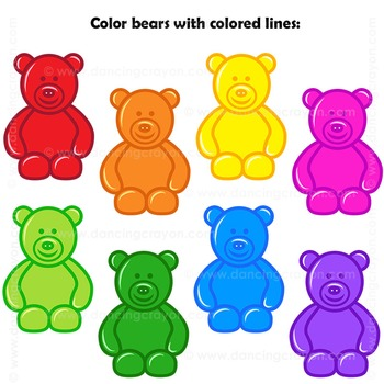 Counting clip art candy. Bears clipart colored