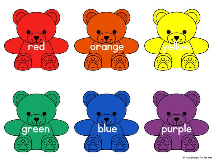 Rainbow bear colors printable. Bears clipart colored