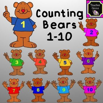 Bears clipart counting.  best tpt clip