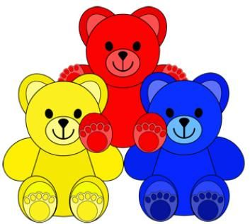 Little colored clip art. Bears clipart counting