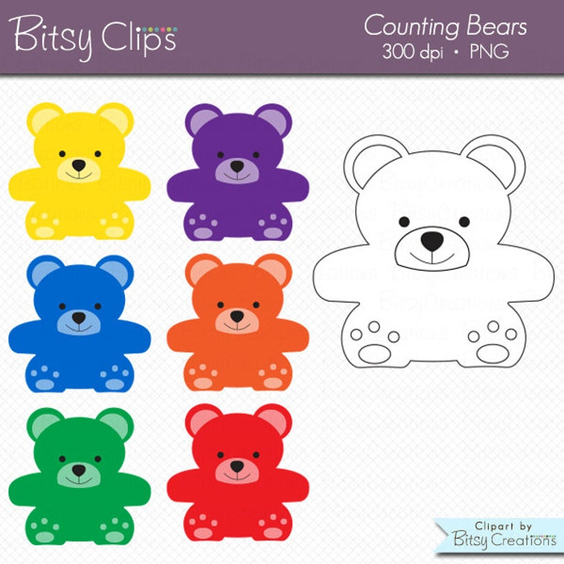 Color and black white. Bears clipart counting