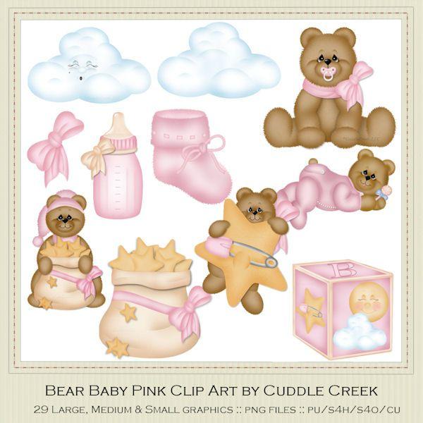 Teddy bear baby pink. Bears clipart cuddling