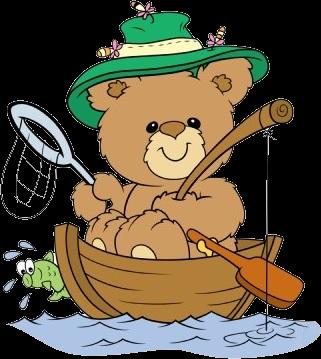 Cute bear in boat. Bears clipart fishing