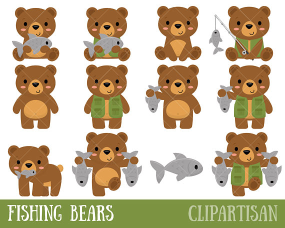 Bears clipart fishing. Cute bear clip art