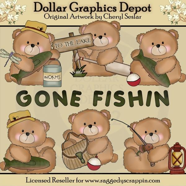 Bears clipart fishing. Boo gone fishin clip