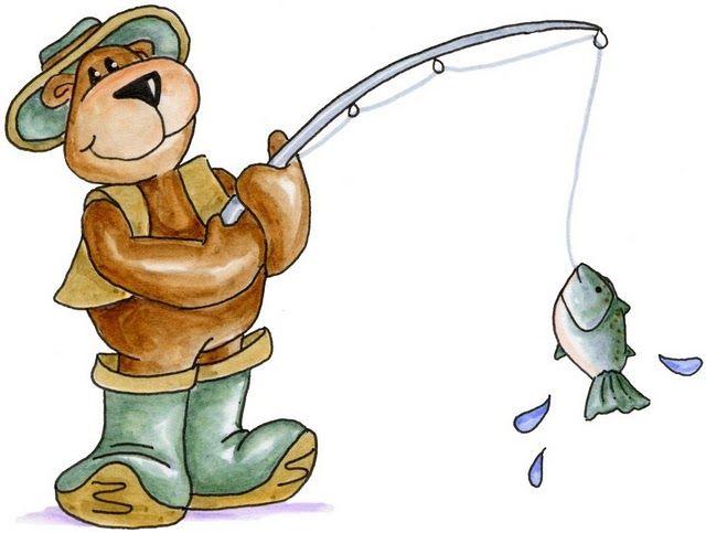 Fisher bear camping hiking. Bears clipart fishing