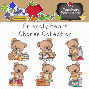 Chore collection commercial use. Bears clipart friendly