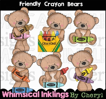 Crayon collection . Bears clipart friendly