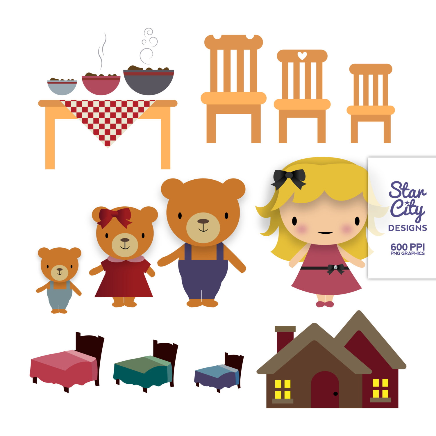 Goldilocks and the three. 3 clipart bears