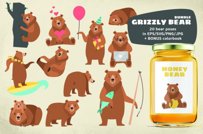 Bears clipart grizzly bear. Bundle xquissive free fonts