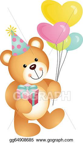 Vector art teddy bear. Bears clipart happy birthday