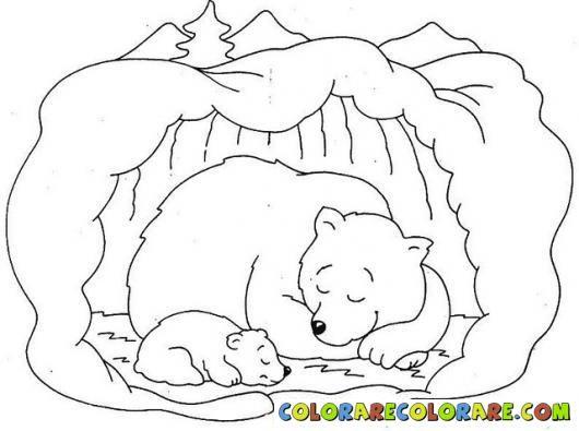 Hibernation bear colouring pages. Bears clipart hibernating