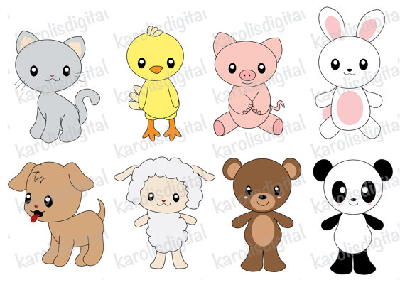 Bears clipart kawaii. Animals clip art set