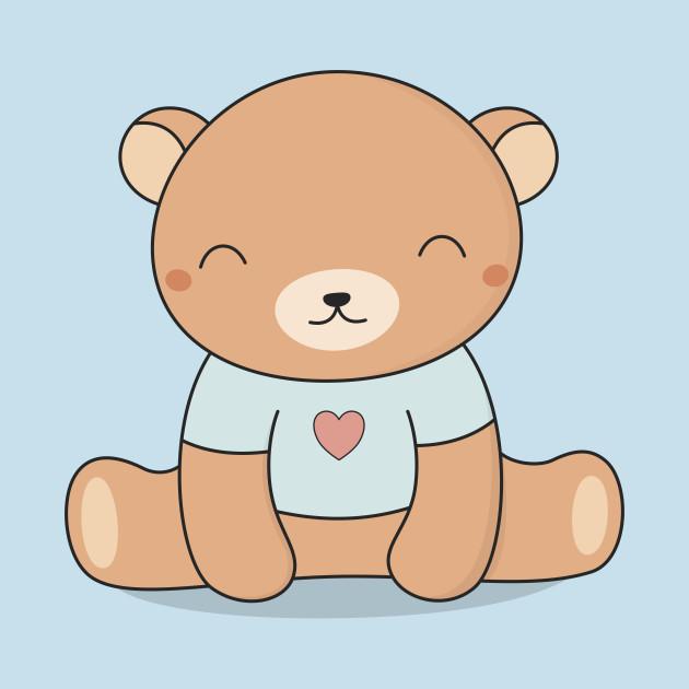 Cute brown teddy bear. Bears clipart kawaii