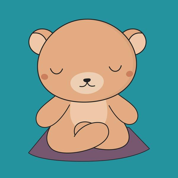 Yoga time for my. Bears clipart kawaii