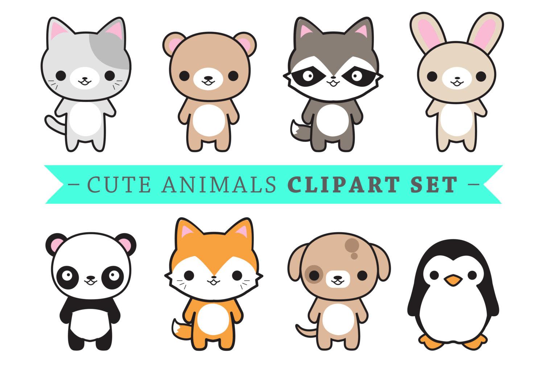 Animals clipart cute. Premium vector kawaii