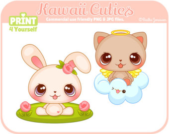 Bears clipart kawaii. Instant download bear cliparts