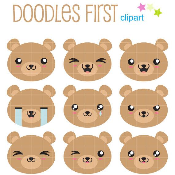 Bear faces clip art. Bears clipart kawaii