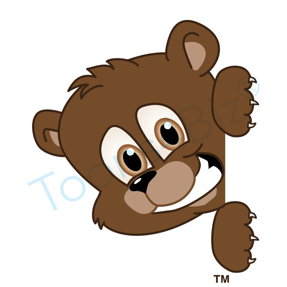 Bears clipart mascot. Bear peeking to side