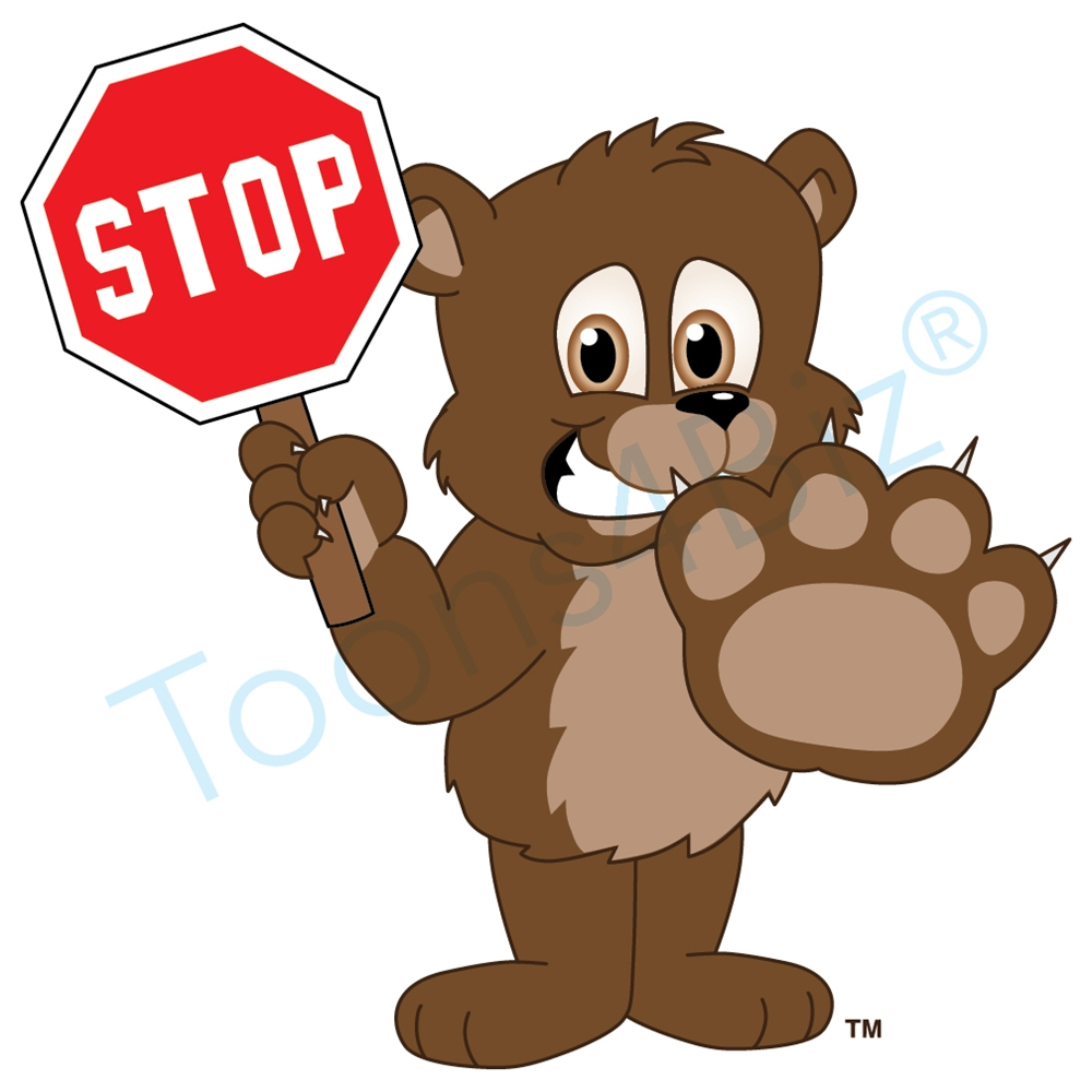 Bear holding a stop. Bears clipart mascot