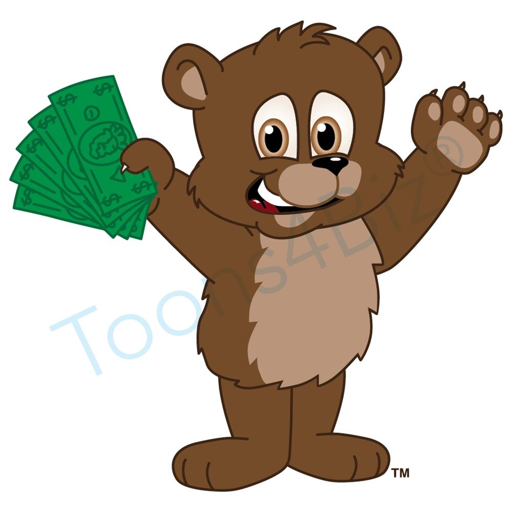 Bear holding money clip. Bears clipart mascot