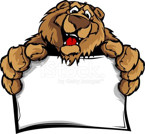 Happy cute bear holding. Bears clipart mascot