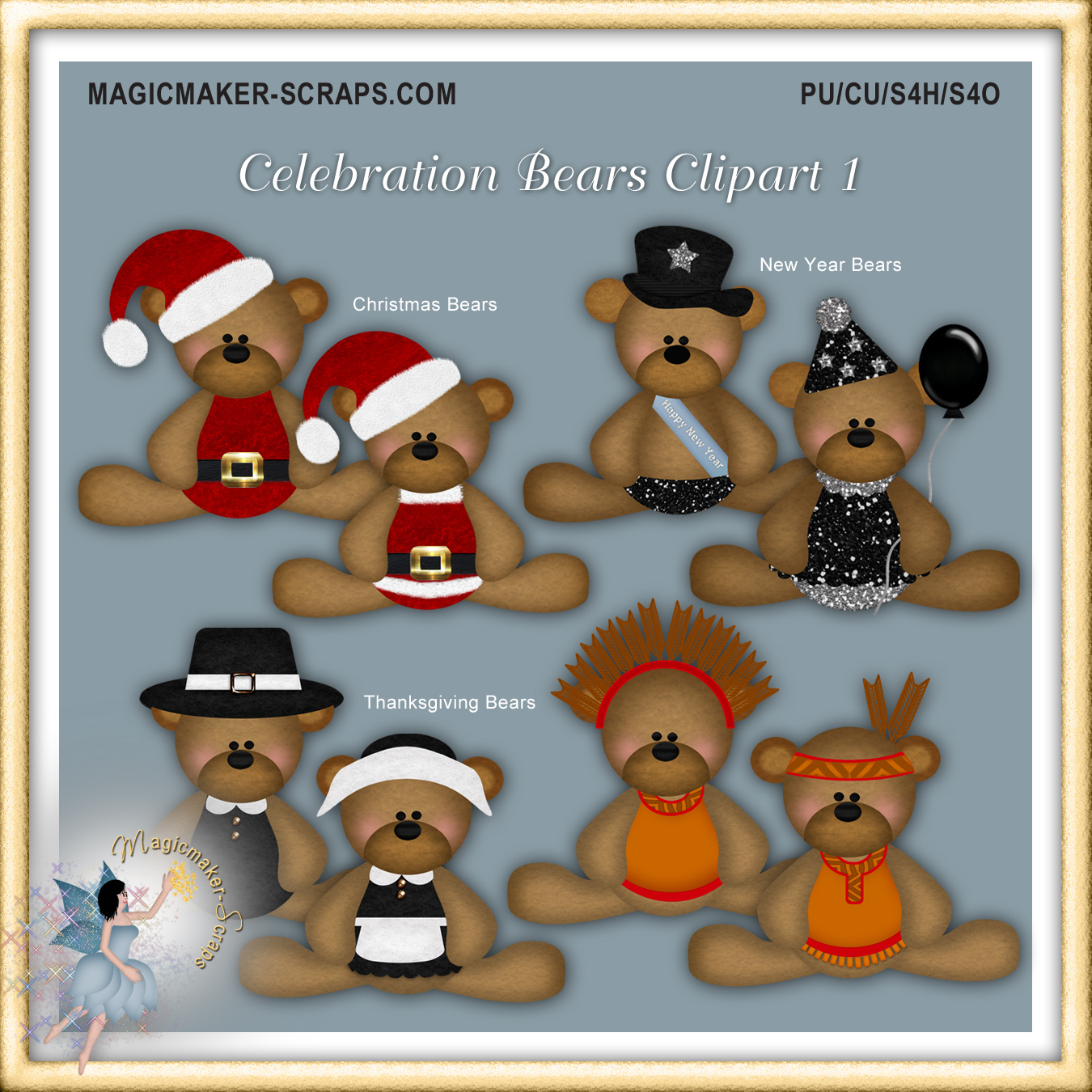 Year magicmaker scraps shoppe. Bears clipart new years eve