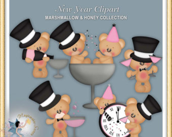 Cleaning time teddy bear. Bears clipart new years eve