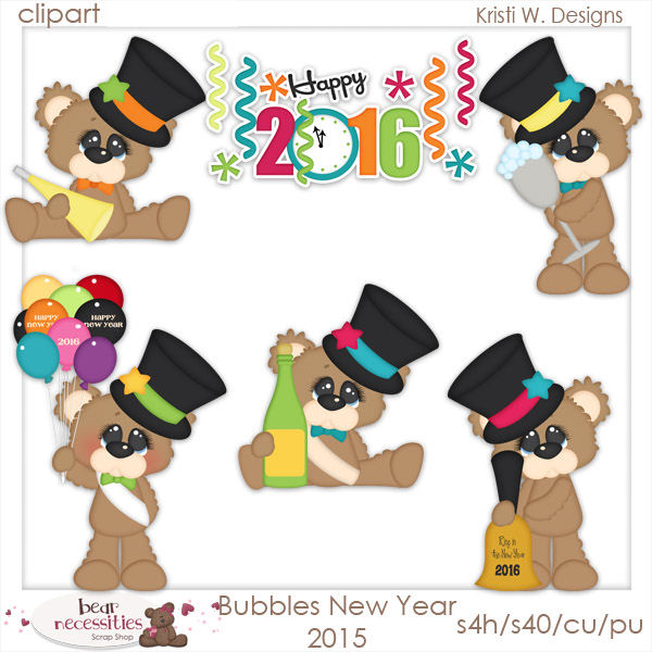 Bears clipart new years eve. Year clip art designs