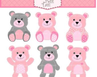 Bears clipart pink. Bear clip art etsy