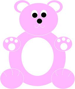 Teddy bear outline panda. Bears clipart pink