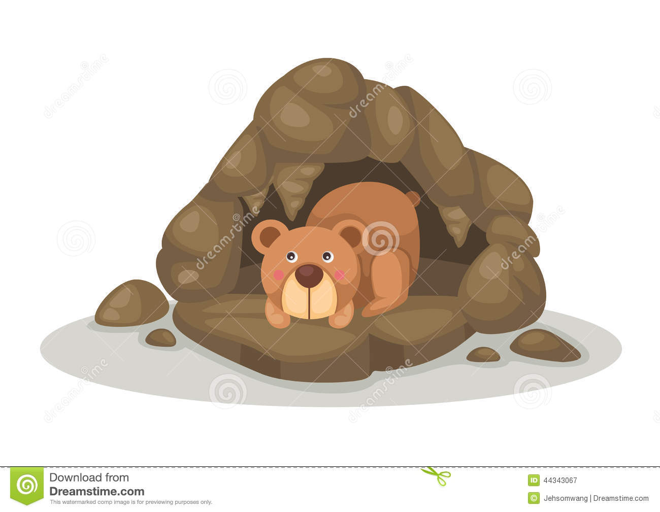 Sleeping in . Clipart bear cave